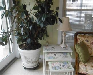 There are many beautiful large plants and planters in this gorgeous home!