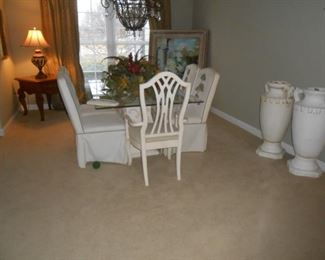 Formal dining table (4) covered chairs, (2) captains chairs
