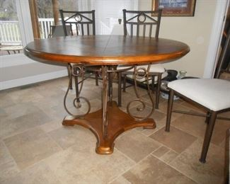 Wood top and bottom kitchen table with scrolled designer legs