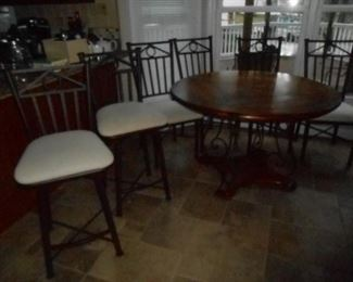 (2) Barstools match the metal back kitchen chairs