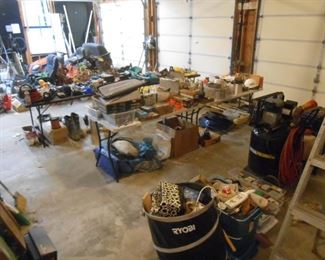 Numerous items in the garage