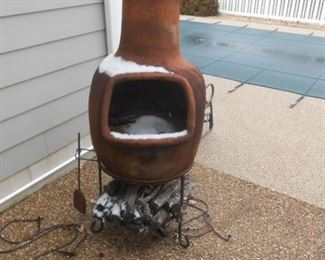 The smoker is off the basement