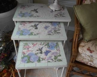 Stack table set with a tile top