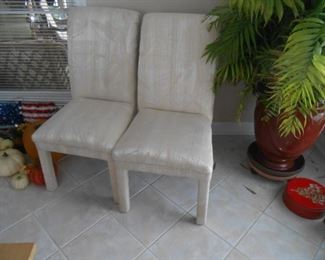 Two (only) covered side chairs