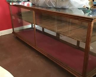 Vintage Oak store display cabinet. All glass intact!