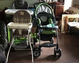 Baby items..stroller, 2 high chairs, car seats