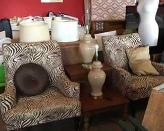 pair animal print chairs, lamps & shades, dress form