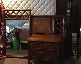 vintage Tahiti full size bedset & nightstand, mirror