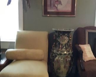 side chairs, large oriental urn, more artwork