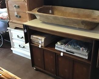 rolling cabinet with storage, large dough bowl, DVD/VCR player, lamps