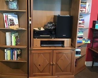 entertainment system (3 pieces) stereo equipment, books