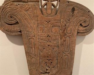 Primitive New Guinea carved wood panel