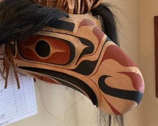 Carved wooden eagle mask