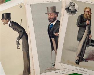 Antique Vanity Fair lithographs of men of the era