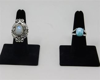 5. Rainbow Moonstone and Larimar Sterling Silver Rings