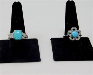 3. Southwest Sterling Silver Turquoise Rings