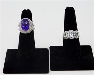 2. 2 Sterling Rings with Semi Precious Gemstones