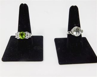 6. Oval Peridot and White Topaz Sterling Ring And Prasiolite Platium Ring