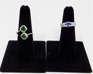7. Russian Chrome Diopside with White Zircon Ring and Tanzanite Ring with Zircon