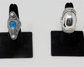 8. Bali Blue Quartz Triplet with Pearl Ring and Sterling Silver Dome Ring