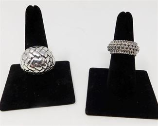9. Sterling Braided Ring and Rhodium Plated Sterling Three Row Chain Band Ring