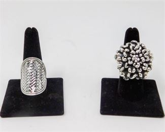 10. Sterling Silver Floral Ring and Bali Sterling Braided Ring