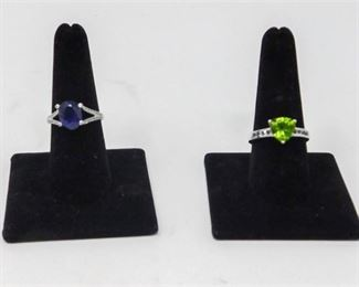 11. 2 Two Sterling Silver Rings with SemiPrecious Gemstones
