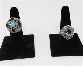 12. Multigemstone Ring and Amethyst Ring Sterling