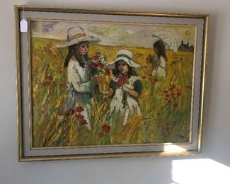 Original oil painting signed by artist Ash famous European Artist. Vibrant color and great depth.