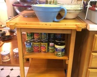 Kitchen island - has wheels and drop down leaf