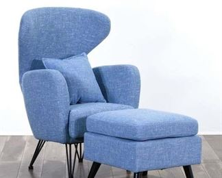 Powder Blue Space Age Wingback Armchair & Ottoman