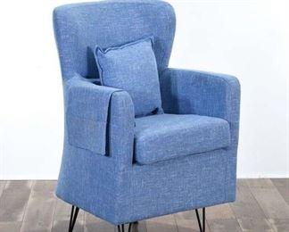 Powder Blue Bespoke Leg Wingback Armchair