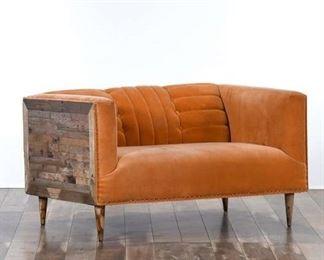 Mid Century Style Tangerine Loveseat W Reclaimed Panels