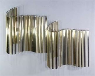 Pair C Jere Signed Brass Modern Wall Hanging C. 1982