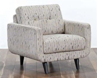 Mid Century Modern Armchair W Retro Pattern Upholstery