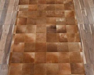 6'X9' Hand Stitched Natural Cowhide Patchwork Area Rug
