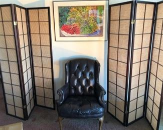Quality leather chair;  folding, matching room dividers; fine art on wall