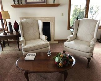 Two high-end white high boy chairs, coffee table, lamps