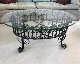 Wrought Iron base & Glass Top Coffee Table
