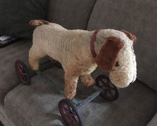 Early 1900's (18th Century) Toy Ride on Dog on Wheels.