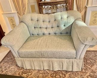 2 of 2 custom love seats with premium luxury seat cushions