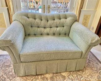 1 of 2 custom love seats with premium luxury seat cushions