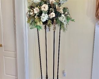 Pair of Art & Commerce  torchiers with custom designed floral arrangement