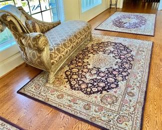 Three hand tufted silk & wool 5x8  area rugs and custom upholstered chaise