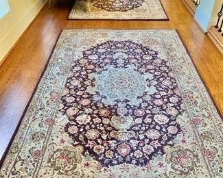 Three hand tufted silk & wool 5x8  area rugs