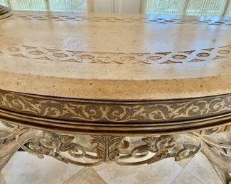 Pair of Pulaski console tables (detail)