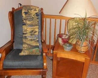 Rocking chair, end table, lamp, misc.