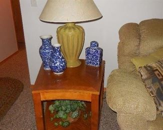 end table, lamp, misc