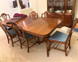 #1Double pedestal Duncan Phyffe Table w/1 leaf  & 6 chairs 66-78x42x30 $175.00