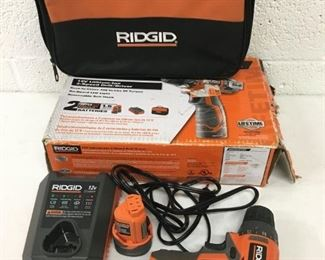 ridgid 12 volt drill w battery and charger.